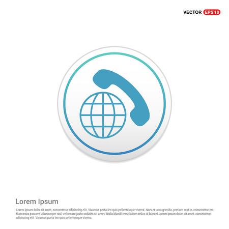 International Call Icon - white circle button