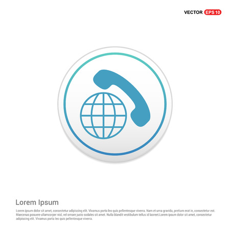 International Call Icon - white circle button