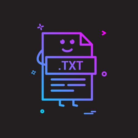 Computer txt file format type icon vector design 向量圖像