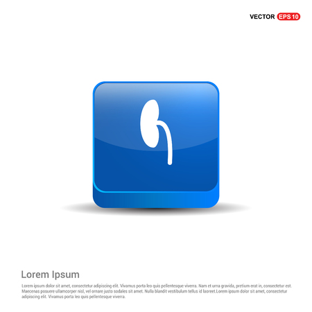 kidney icon - 3d Blue Button. Illustration