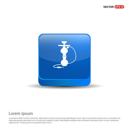 Hookah icon - 3d Blue Button.