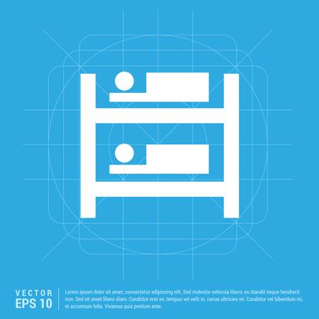 Hostel Bed Icon Ilustración de vector