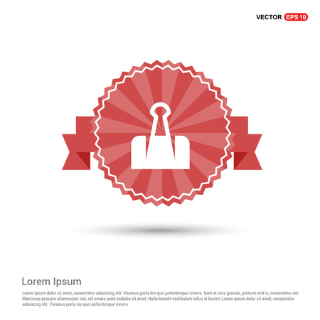 Paper Clip Icon - Red Ribbon banner Illustration