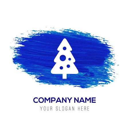 X-Mas Tree Icon - Blue watercolor background