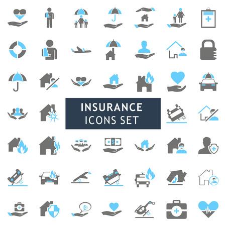 Icone di assicurazione set vettoriale Vettoriali