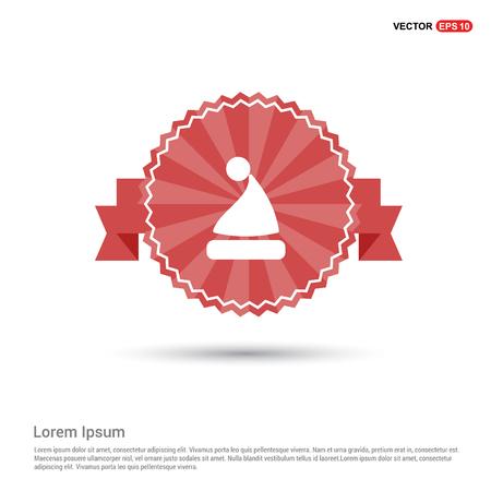 Santa Claus hat Icon - Red Ribbon banner Ilustração