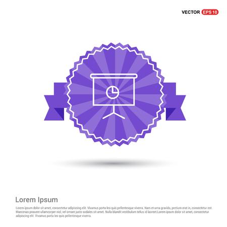 Business graph icon - Purple Ribbon banner Illustration