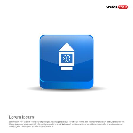 Wall Clock Icon - 3d Blue Button. Vectores