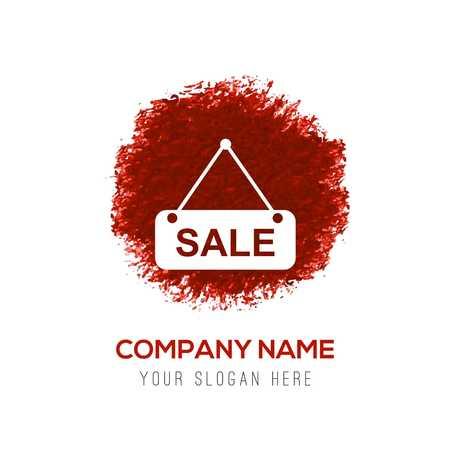 Sale-Tag-Symbol - Red WaterColor Circle Splash Vektorgrafik