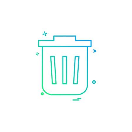 Dustbin icon design vector