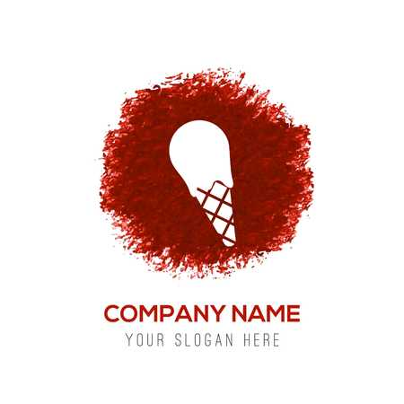 Ice cream icon - Red WaterColor Circle Splash