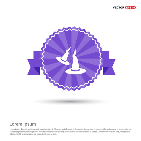Halloween Witch Hats icon - Purple Ribbon banner  イラスト・ベクター素材