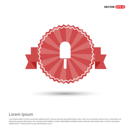 Ice cream icon - Red Ribbon banner Ilustrace