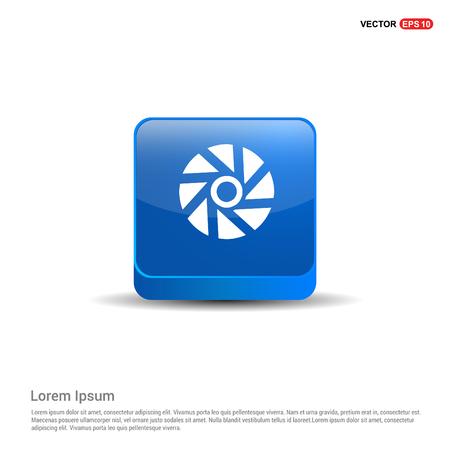 Camera shutter icon - 3d Blue Button. 向量圖像