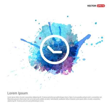 Clock Icon - Watercolor Background