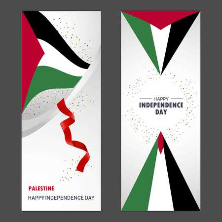 Palestine Happy independence day Confetti Celebration Background Vertical Banner set
