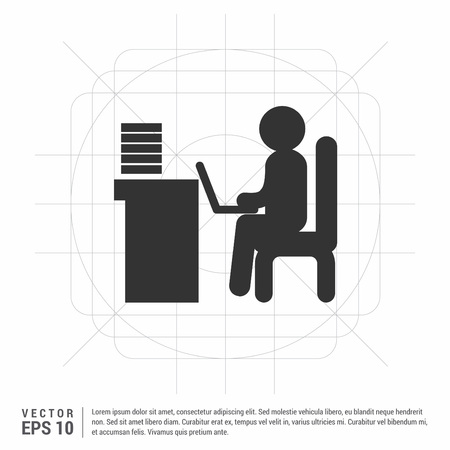 Man behind the computer desk Icon