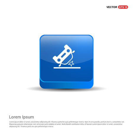 Car crash accident icon - 3d Blue Button.