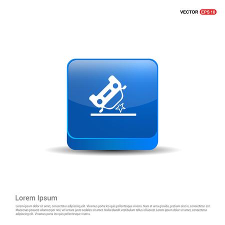 Car crash accident icon - 3d Blue Button.