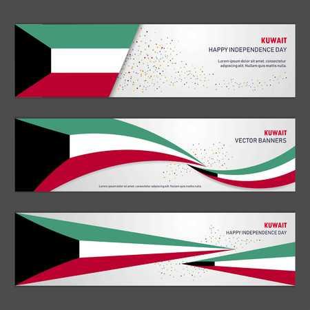 Bannière de conception de fond abstrait du jour de l'indépendance du Koweït et flyer, carte postale, paysage, illustration vectorielle de célébration