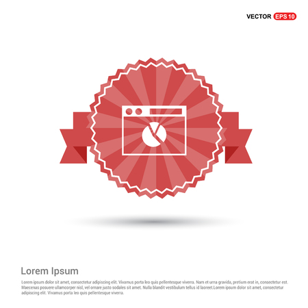 Pie Chart Icon - Red Ribbon banner