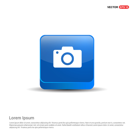 Photo camera icon - 3d Blue Button.