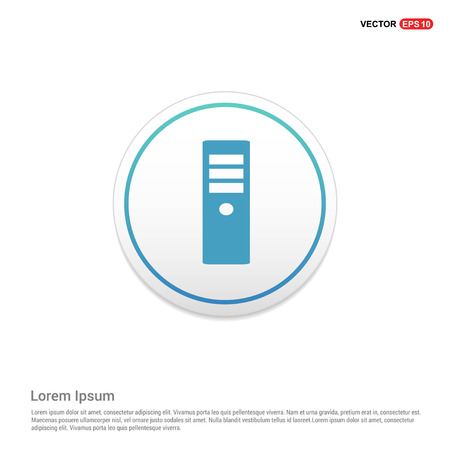 CPU Tower Icon Hexa White Background icon template - Free vector icon Illustration
