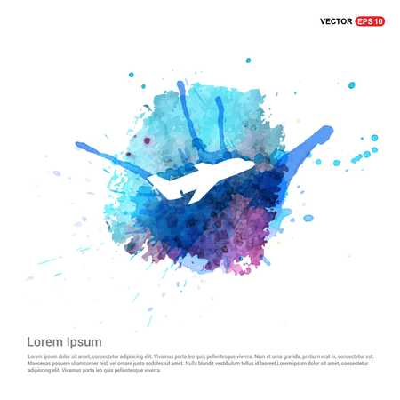 Airplane icon - Watercolor Background