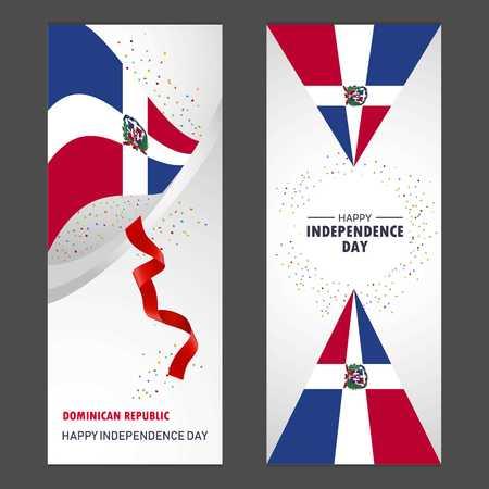 Dominican Republic Happy independence day Confetti Celebration Background Vertical Banner set Vektoros illusztráció