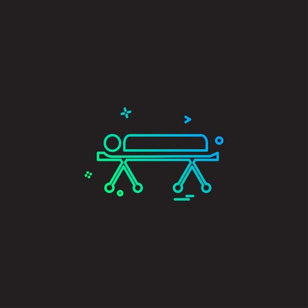 bed emergency hospital patient strature stretcher icon vector desige Vector Illustratie