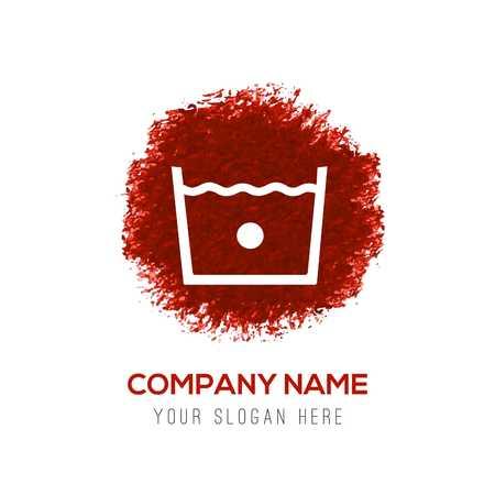 Laundry symbols icon - Red WaterColor Circle Splash