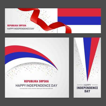 Happy Republika Srpska independence day Banner and Background Set Illustration