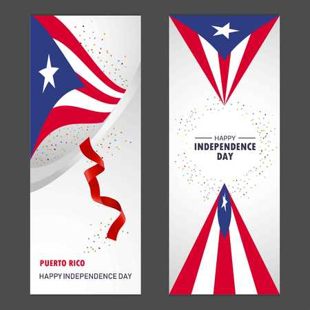 Puerto Rico Happy independence day Confetti Celebration Background Vertical Banner set Illustration