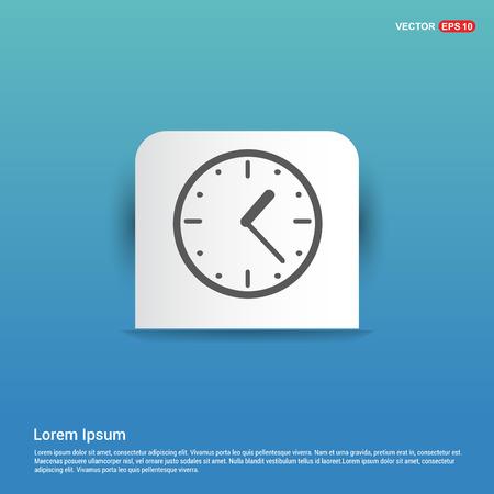 Clock Icon - Blue Sticker button Vector Illustratie