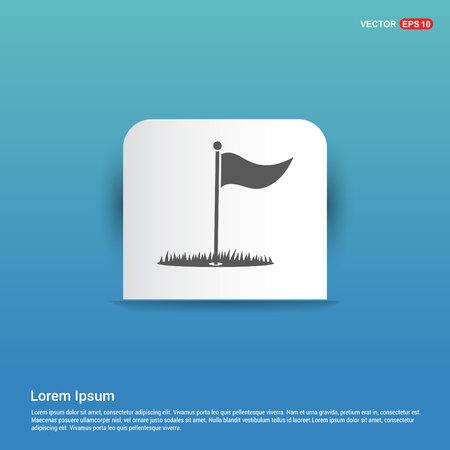 Golf Flag Icon - Blue Sticker button