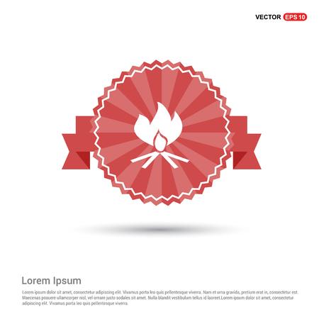 Icono de fuego - banner de cinta roja
