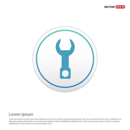 Wrench Icon - white circle button Illustration