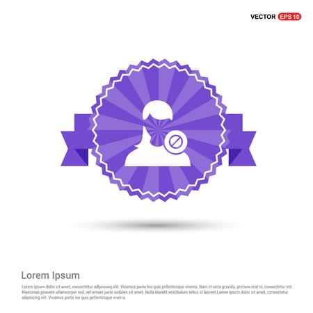 Block user icon. - Purple Ribbon banner