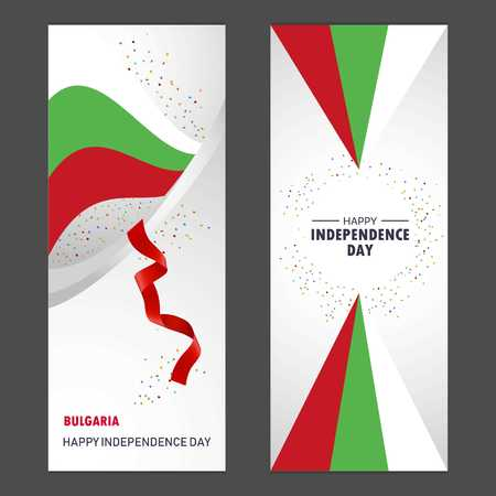 Bulgaria Happy independence day Confetti Celebration Background Vertical Banner set