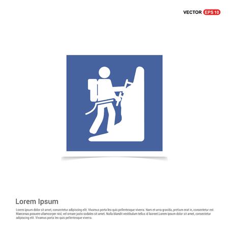 Rock climbing icon - Blue photo Frame Stock Vector - 111412603