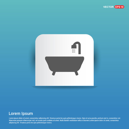 Bath Tub Icon - Blue Sticker button