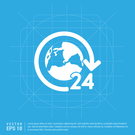 24 hours worldwide service icon
