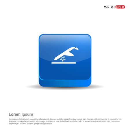 Airplane accident icon - 3d Blue Button.