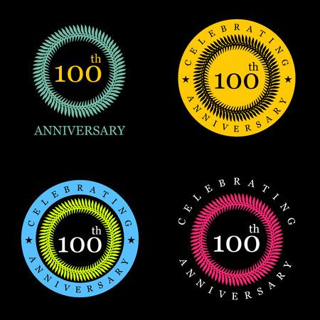 Célébrer les badges d'anniversaire avec un design élégant Vecteurs