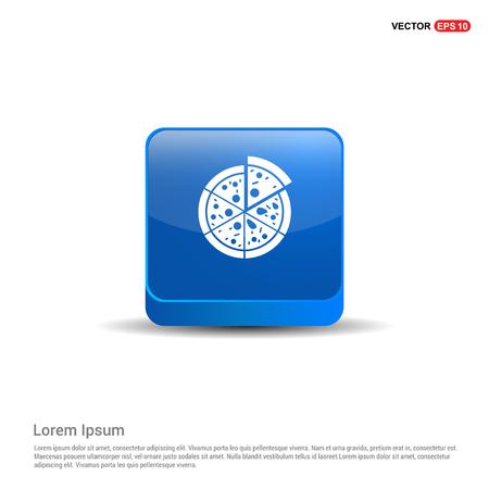 Classic pizza icon - 3d Blue Button.