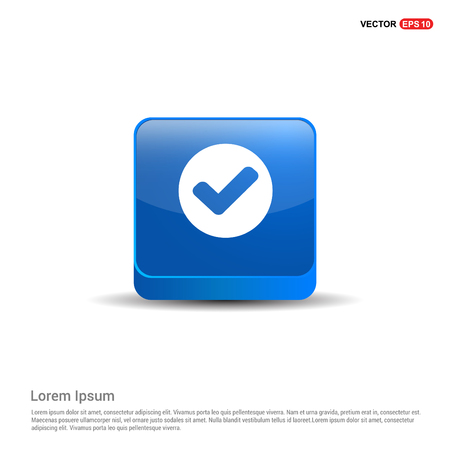 tick Icon - 3d Blue Button. Illustration