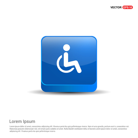 Disabled person icon - 3d Blue Button.