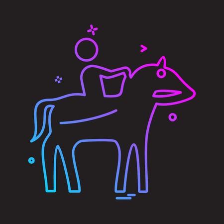Horse riding icon design vector