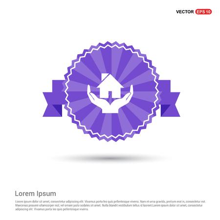 House icon - Purple Ribbon banner Ilustração