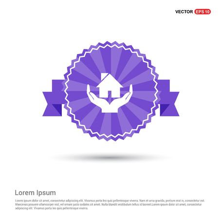 House icon - Purple Ribbon banner Illustration